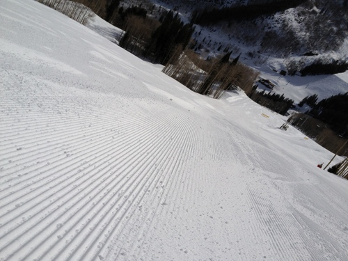A ski-level view of the pure corduroy left by the cats.