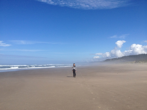 Aren Elliott explores the beach in Neskowin, Ore.
