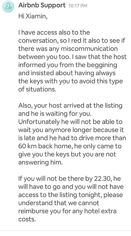 Airbnb responds to this locked out guest.