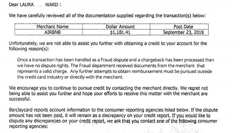 After her Airbnb account was hacked, she disputed the credit card charge. This is the denial of the appeal.