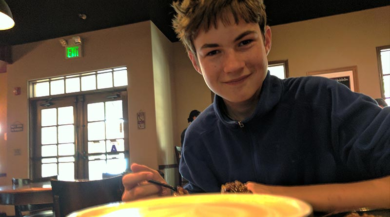 Aren Elliott in Temecula, Calif., in 2017. Eating utensils -- particularly knives -- are the key to a successful trip.