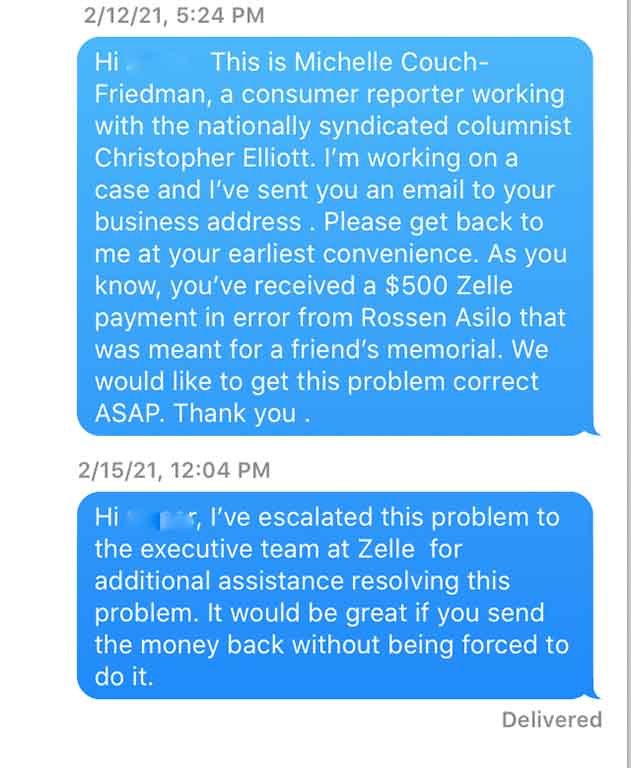 I asked the stranger to send back the money this consumer had sent him by mistake. He ignored my requests.