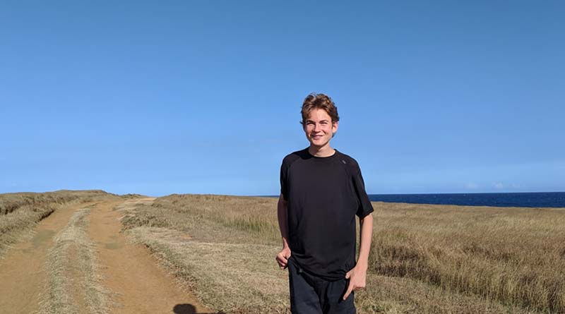 Aren Elliott on Hawaii's Big Island, en route to the famous volcanic green sand beach. We visited because there's nothing like it on the planet.