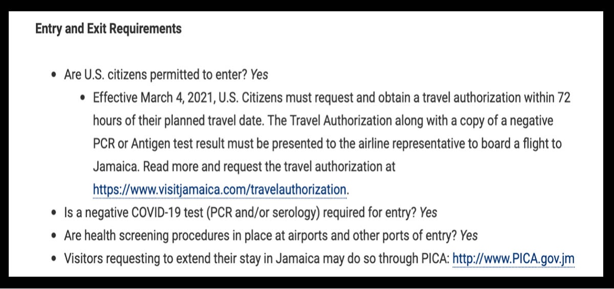 These are the COVID-inspired entry requirements for Jamaica