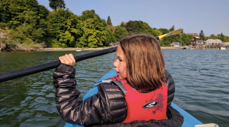 Erysse Elliott paddles off Whidbey Island in Washington State in 2017.