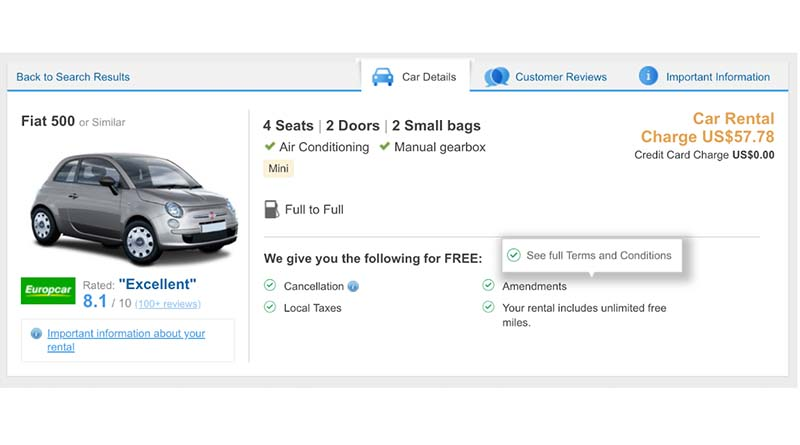 He found a great rate on Rentalcars.com. But then he signed the ...