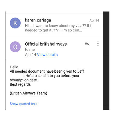 Fake britishairways, internet scammer text.