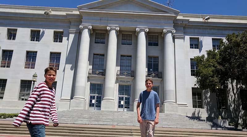Iden and Aren Elliott at Sproul Plaza, in Berkeley, Calif., the birth of the Free Speech Movement.