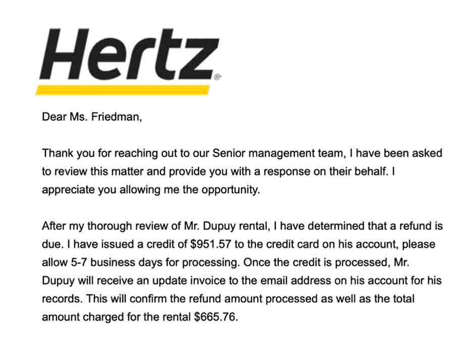 No, not even Hertz believes that his car rental mistake is worth $951.