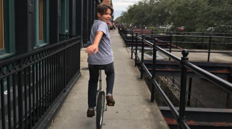 Iden Elliott goes unicycling in Savannah, Ga. There's no better way to call attention to yourself -- but it's fun.