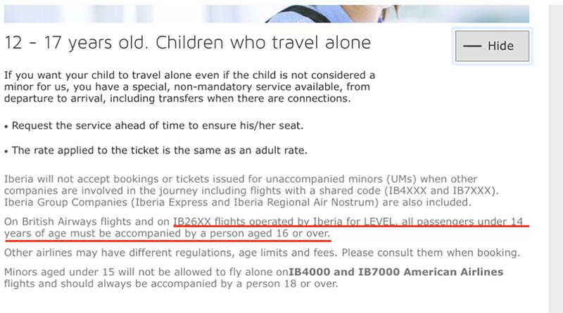 It isn't possible for a child under age 14 to fly alone on Level