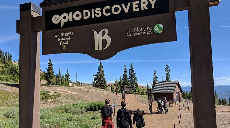The entrance to Breckenridge's off-season activity area for mountain biking and zip lining. In winter, this is also a terrific run.
