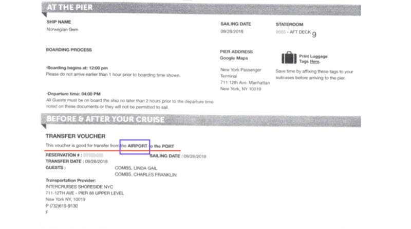 Here's the useless NCL transfer voucher given to the couple by their NCL personal cruise consultant.