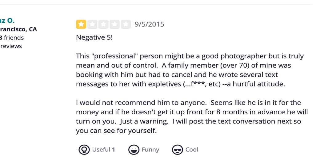 A negative review of this photographer on Yelp.