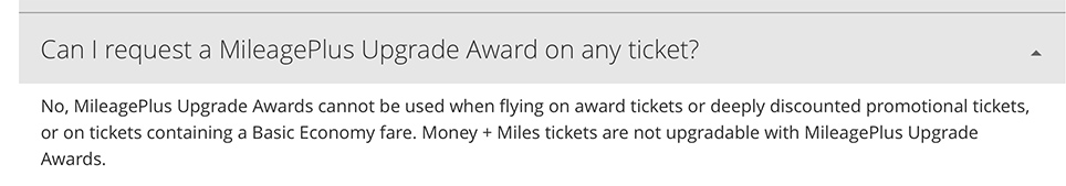 Award tickets on United Airlines are not eligible to upgrade.