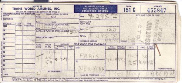 Paris to New York 1953