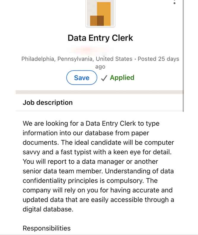 Proof that fake job scams are happening on LinkedIn. This is a listing for a data entry position that doesn't exist.
