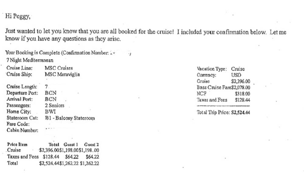 This is the only cruise confirmation this passenger received about her trip.