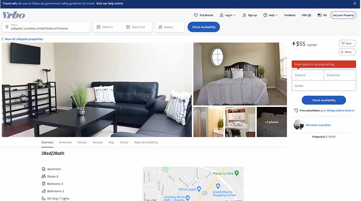 This is the fake listing on the Vrbo website.