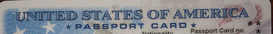 The top of a US Passport Card. Kids need passports, too.