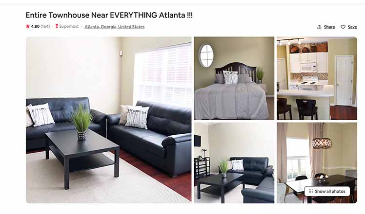 A scammer scraped these photos off of the Airbnb website and set up a fake listing on Vrbo.