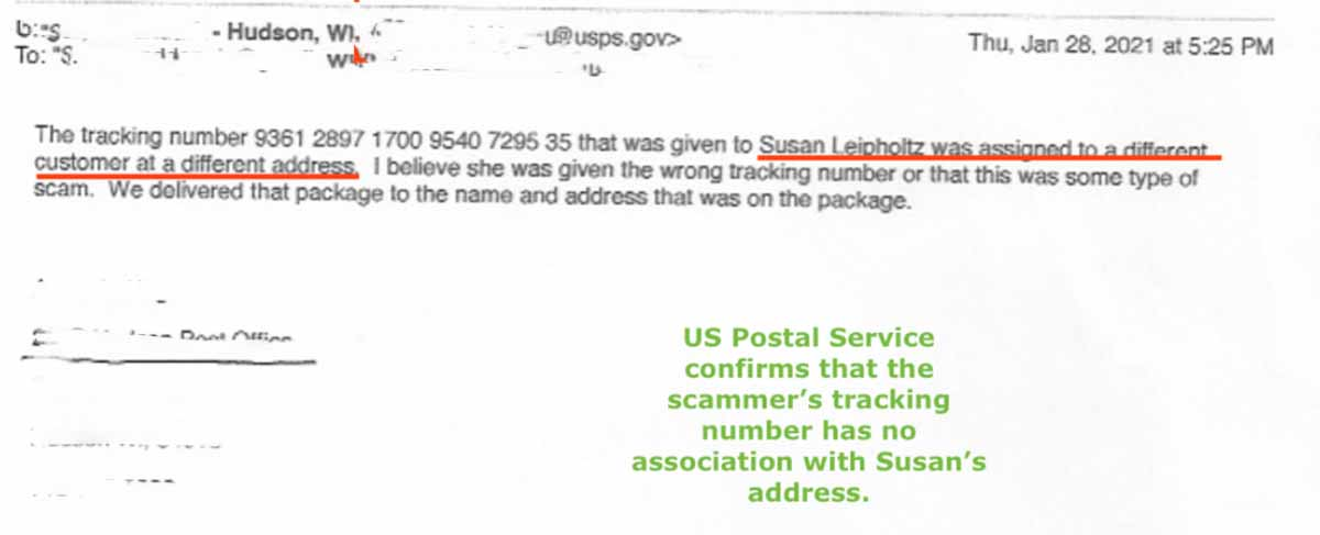 The US Postal Service provided evidence that this consumer's online shopping excursion was just a scam.