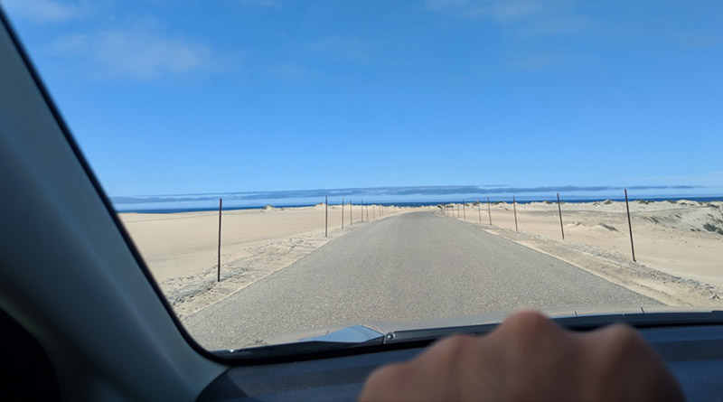 A driver's view of the Guadalupe Dunes near Santa Maria, Calif.