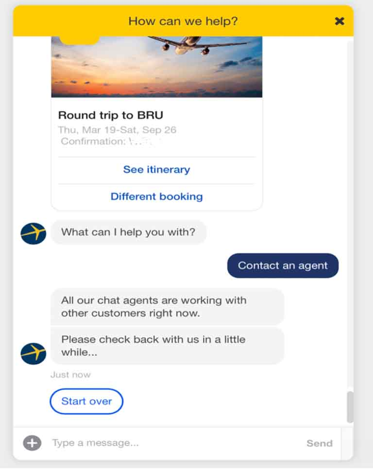 The Expedia chatbots never arrived to assist with canceling this flight.