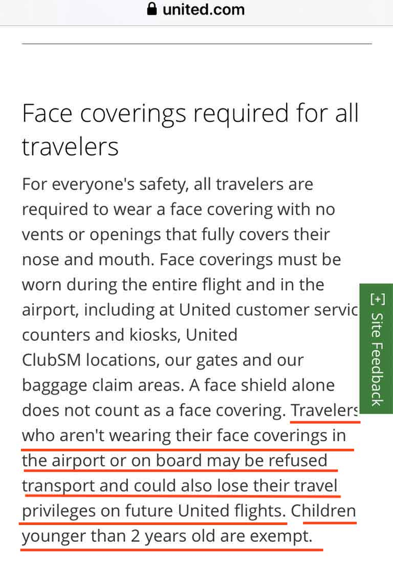 United Airlines reminder: You must wear a mask on the flight during the pandemic.