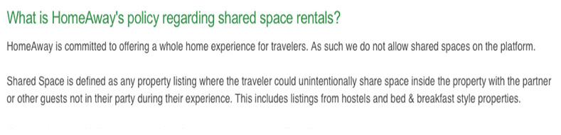 This is proof that VRBO forbids shared space rentals. So this vacation rental problem is particularly odd.