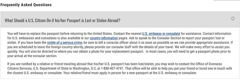What to do if your passport is lost or stolen abroad (from the US Department of State)