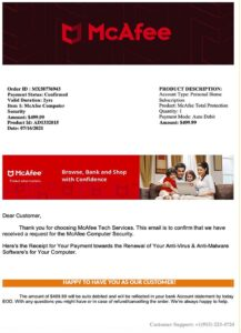 This is an antivirus protection scam invoice pretending to be from McAfee