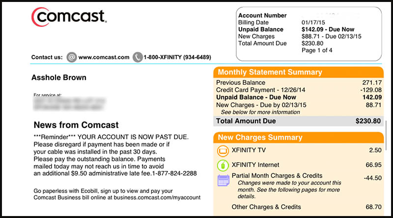 Someone at Comcast changed her husband s name to A  hole on their bill 26c3e826c