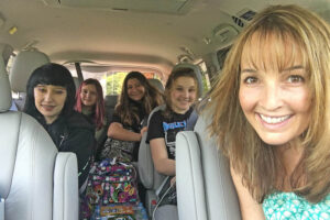 The author, Michelle Couch-Friedman, at the start a 30-day road trip with these teenagers
