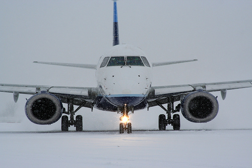snow at airport