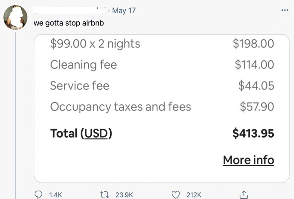 Complaints on Twitter about mandatory fees.