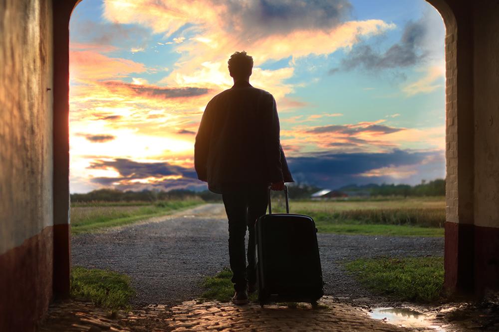 travel, man, sunset, trip, suitcase, luggage, bag, baggage